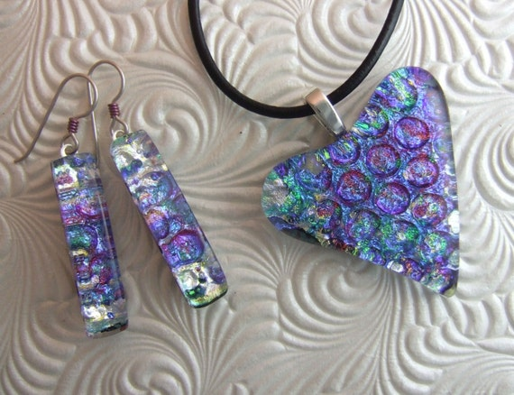 Waterlily Heart, Fused Glass Jewelry Handmade in North Carolina
