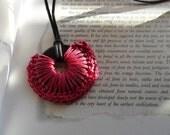 Crochet Pendant, Rope Pendant, Fushia Pendant, Fushia Rope Pendant Ajustable Pendant