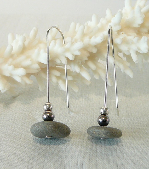 Beach Pebble Earrings with Sterling Silver Accents