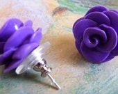 Itty Bitty Mini Rose Earring Posts, Polymer Clay Jewelry