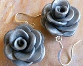 Sparkly Silver Rose Earrings, Polymer Clay Jewelry
