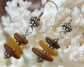 SALE 20% OFF --- 3-Tier Shades of Brown Beach Glass and Sterling Earrings