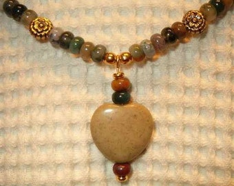 CLEARANCE - 70% OFF - Fancy Jasper and Heart Pendant Necklace