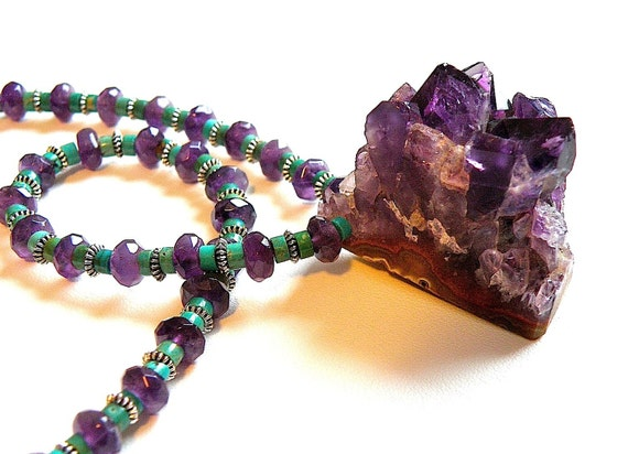 20% OFF SALE -- Natural Chunk Amethyst and Turquoise Necklace