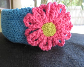Daisy Cotton Basket in Turquoise
