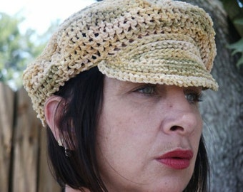 Cotton Chennille Newsboy Hat In Earth Tones