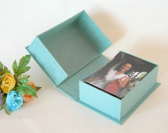 Clamshell  box - 4x6x2in. -  Luminescent aqua cloth - Ready to ship