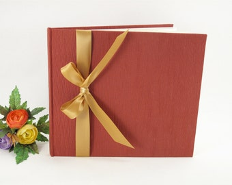 Lined guest book - terra cotta with gold ribbon -8x9in  20x23cm - Ready to ship