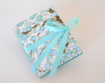 Accordion book- aqua blue plum chiyogami (3x4in.) - Ready to ship