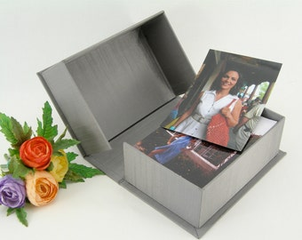 Clamshell box - 5x7x2in.- grey/taupe Japanese book cloth