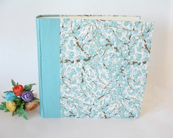 Photo album - aqua plum blossom chiyogami -12x12in 30x30cm - Ready to ship