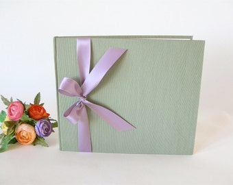 Guest book  unlined - sage with lavender satin ribbon - 8x9in 20x23cm - Ready to ship