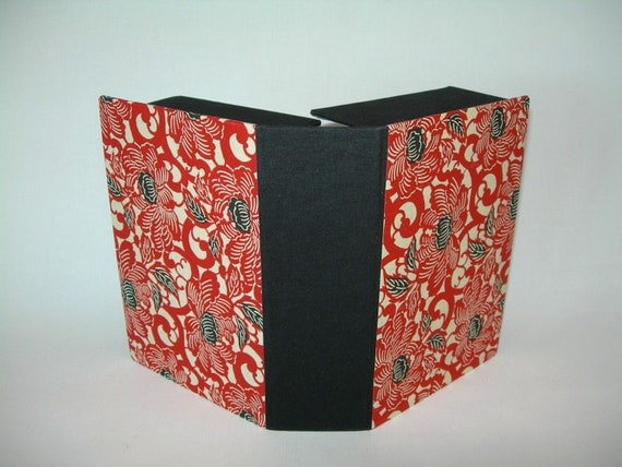 Clamshell photo box- (4x6x2) red and black peony Japanese chiyogami