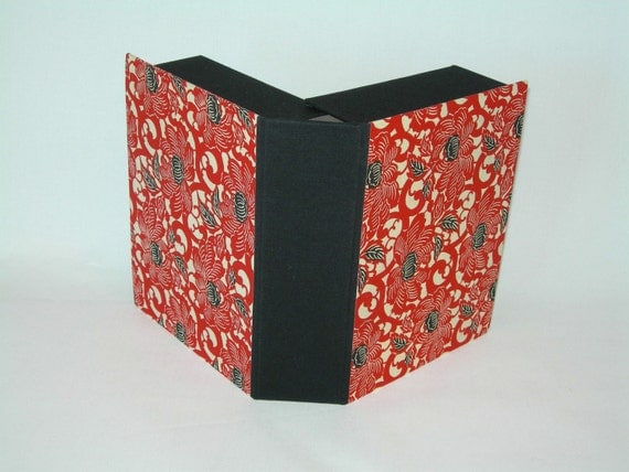 Clamshell photo box- (5x7x2) red and black peony Japanese chiyogami