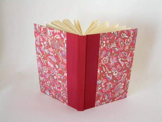 Blank book journal unlined - crimson with paisley - 6x9in - Ready to ship