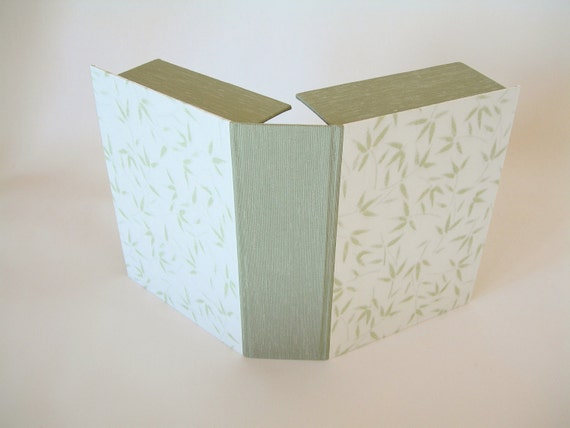 Clamshell  box (4x6x2) sage with bamboo leaf - Ready to ship