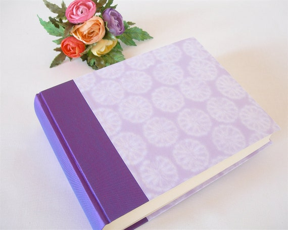 Photo album (6x8) 50 page  purple and lavender flower paper - Ready to ship