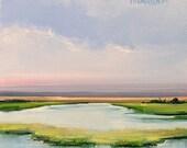 """AWAKENING - Serene, SUNSET, OIL landscape of Salt Marsh - Open Edition Print  6""""x6"""""""