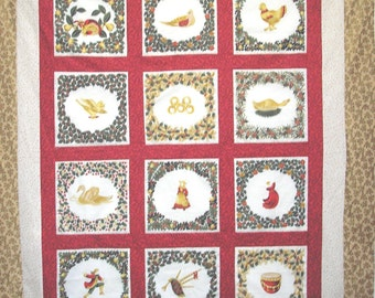 Quilt Fabric Kit 12 Days of Christmas 51 x 62 Panel Plus Pre-Cut Borders and Directions RJR Fabric