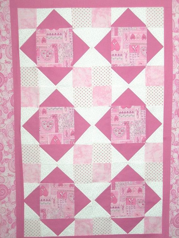 """Quilt Kit Breast Cancer Timeless Treasures Fabric Pre-Cut Pink Instructions Included 35"""" x 47"""""""