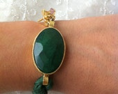 Gold Coated Silk - Scarf Bracelet With Emerald And Dragonfly