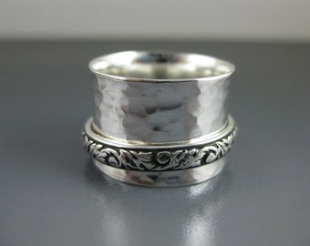 sterling silver spinner ring with ornate patterned silver spinner, meditation ring, recycled silver ring, eco-friendly ring, worry ring