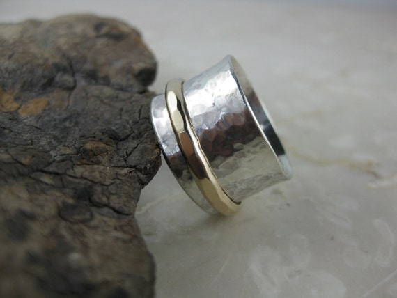 sterling silver spinner ring with 14k gold-filled spinner, gold and silver ring, everyday wedding band, recycled silver and gold