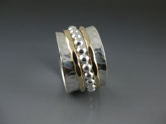 silver spinner ring with two gold-filled hammered and one silver beaded spinner, spinner ring, meditation ring, fidget ring, beaded spinner