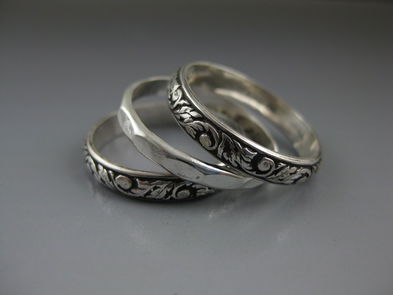 silver stacking rings stack set sterling stacking set