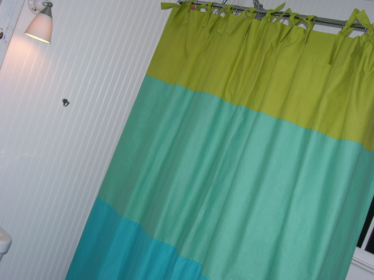 lime green seafoam green and turquoise shower curtain