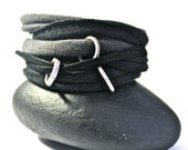 Bracelet Cuff Women - Bracelet Womens Cuff - Black and gray grey w/ gunmetal - Womens Bracelet Cuff- suede bracelet - Womans Bracelet