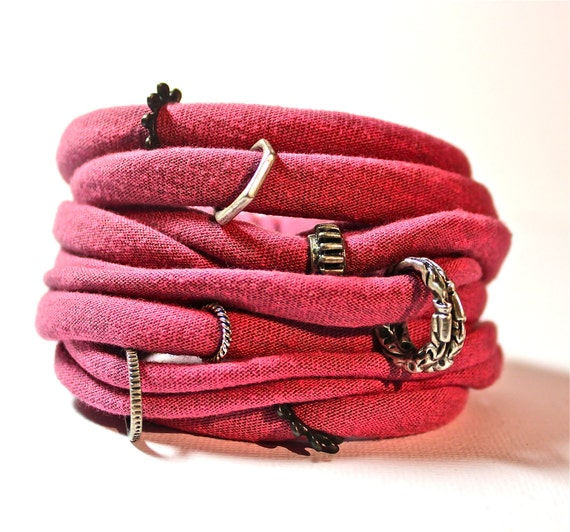FABRIC BRACELETS cotton upcycled jersey cuff in pink