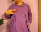 Romantic Wanderer dress - purple cotton knit -  long sleeves