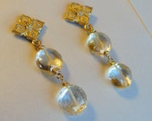 Classic Citrine Earrings with Golden Flower Post