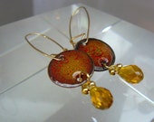 Poppies Enameled Glass Earrngs with Glass, Copper, Crystal Quartz, and Sterling Silver Ear Wires