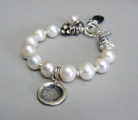 SALE - Love Bracelet with Rhinestones, Pearls and Sterling Silver