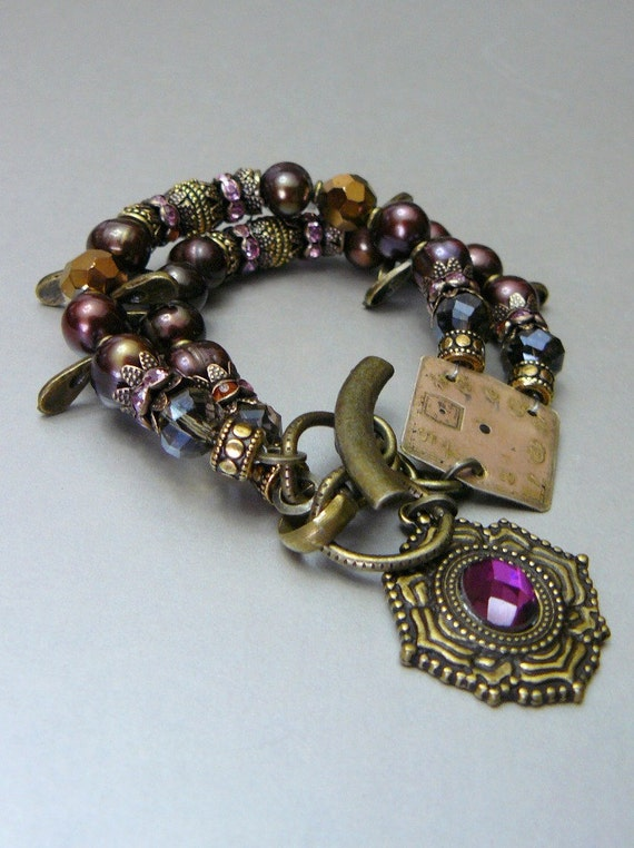 Steampunk, Cherry-Chocolate Pearl Bracelet with Gold Beads, Crystals, Swaroski Spacers and an Antique Clock Face