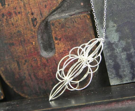 Avant Garde Pendant, Handmade Sterling Silver Necklace, Ornate Pendant, Memory Orb Sterling Silver Necklace 24 inch chain