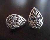 vintage - Sterling Silver Ajoure Earrings (Ornate Teardrop)