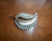 vintage - Faux Pearl Brooch - Leaf Brooch - Crown Trifari - Trifari Brooch