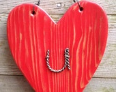 Rustic Valentine's Day Heart, Love You,  Red Wooden Heart