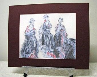 Hand Colored Print - Drian - Three Females - Fashion Illustration
