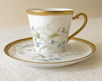 Antique French Depose Porcelain Demitasse Cup and Saucer