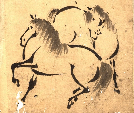 Old Japanese Woodblock Print on Rice Paper - Zen-style horse study