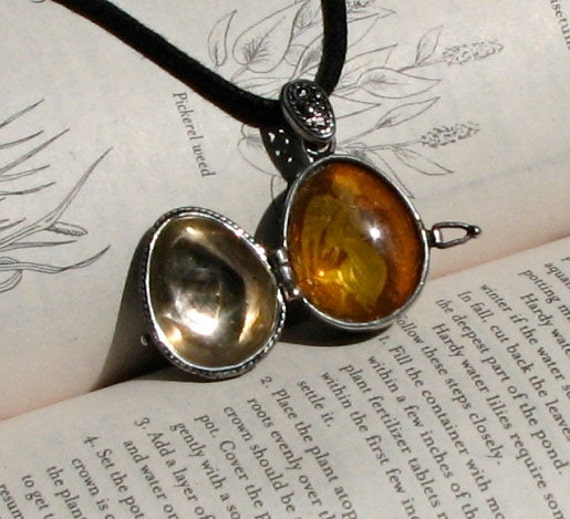 Faberge Style Sterling Silver Egg Locket with Amber  Angel