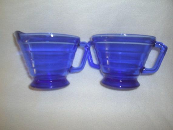 Vintage Cobalt Blue Cream and Sugar Set