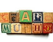 Vintage Wooden ABC Blocks - Create Your Own Romantic LOVE Block Set - Te Amo Mucho means I Love You So Much - Amor - Amour - Amore