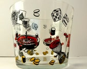 Vegas Casino Barware Swanky Midcentury Gamblers Ice Bucket Vintage Dice Dominoes Chess Pieces Roulette Wheel Bingo Poker