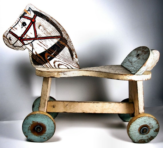 Derelict Hobby Horse on Wheels - Rustic Vintage Toy Pony - American Pickers Feature - 15 Amazing Glimpses Into History - Reserved