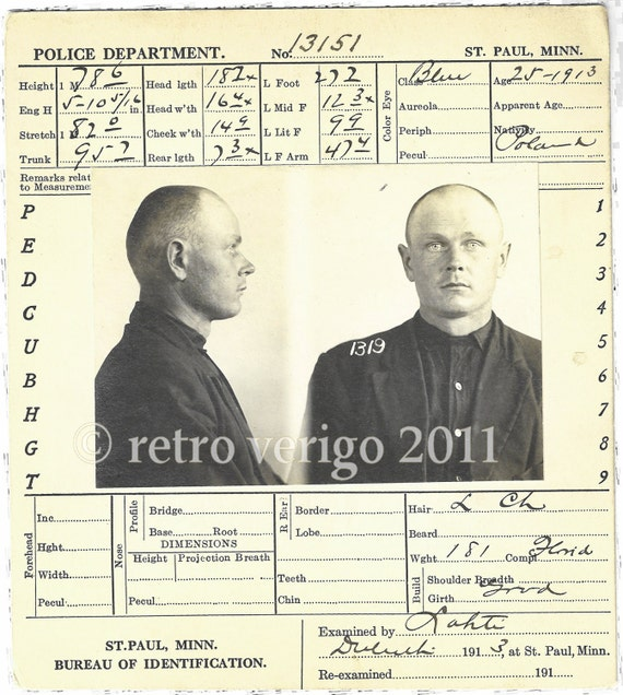 Vintage Mugshot - Prisoner No 1319 - Polish Criminal - Post Edwardian - Antique Bertillon - St. Paul Minnesota Police Paraphenalia